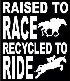 Raised To Race; Recycled To Ride (Off Track Thoroughbred) Horse Decal ...