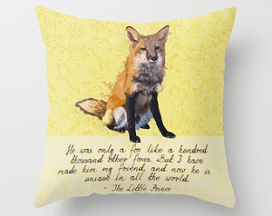 Fox The Little Prince Woodland 16x1 6 Throw Pillow Cover Quote Yellow ...