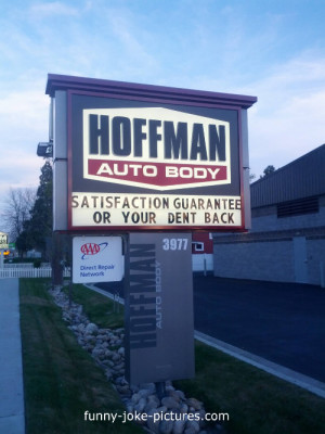 Funny Hoffman Auto Car Body Repair Sign PPhoto