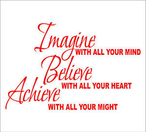 Details about IMAGINE BELIEVE ACHIEVE Quotes decal sticker vinyl wall ...