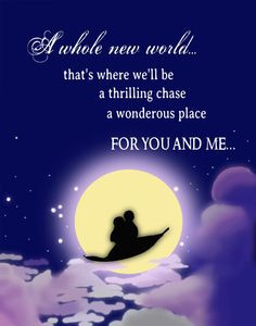 Disney princess aladdin romantic quote poster... 12x15