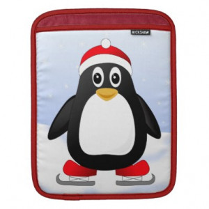 Cute Ice Skating Cartoon Penguin iPad Sleeve
