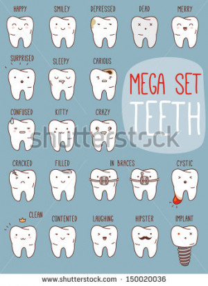 Teeth mega set. Big dental collection for your design. Many various ...