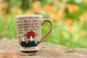 ... Quote Mug - The Hobbit - Large, speckled brown mug with mountain art