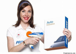 Flo quoting low priced budget Car Insurance Progressive