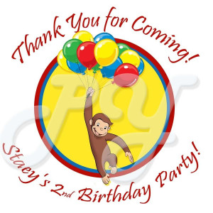 Curious George Birthday Supply Personalized Stickers Graphics