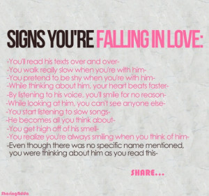 Falling in love.. oh shit, I'm in trouble, all these are correct ...