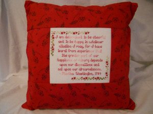 Martha Washington's Wisdom Quote Pillow. Beautiful Pillow for lounging ...