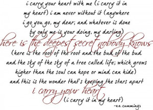 Carry Your Heart By ee Cummings. My favorite poem. It speaks to how ...