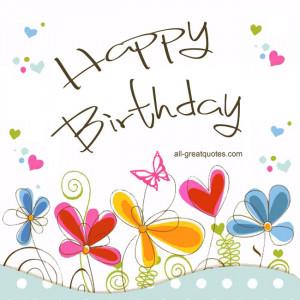 Happy Birthday | Pretty Colored Vector Flower Free Birthday Card
