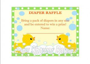 Rubber Duck Diaper Raffle Ticket, Instant Download Rubber Duck Baby ...