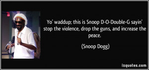... stop the violence, drop the guns, and increase the peace. - Snoop Dogg