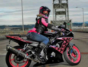 ... and black Yamaha R6 , purchased as soon as she could ride legally