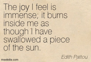 The Joy I Feel Is Immense It Burn Inside Me As Thought I Have ...