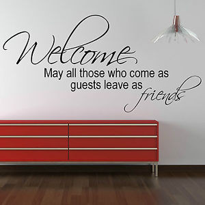 Details about Welcome Wall Sticker Quote - Friends Home Office Decal ...