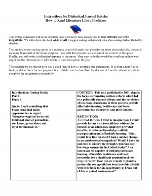 dialectical journal example Dialectical journal may be slightly fewer than 6 pages and may have some formatting mistakes d student performance is below average, and notes demonstrate a basic or limited understanding of the text.