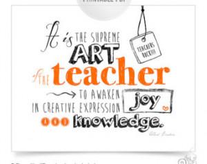 Teacher Appreciation Printable / Th ank You Teacher / Einstein Quotes ...
