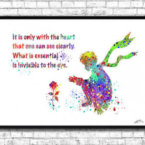 Little Prince Quote Watercolor print Le Petit Prince Rose Stars French ...