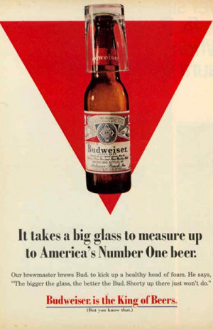 Old Budweiser ad - Red triangle background and a Budweiser bottle and ...