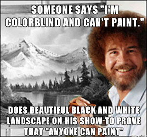Bob Ross painted a beautiful black and white landscape on his show to ...