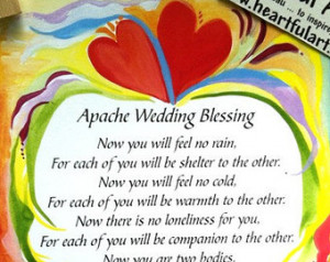 APACHE WEDDING BLESSING 5x7 Inspira tional Quote Bride Groom Marriage ...