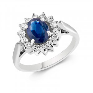 Blue Sapphire and Diamond Ring in 14K White Gold