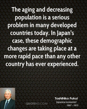 The aging and decreasing population is a serious problem in many ...
