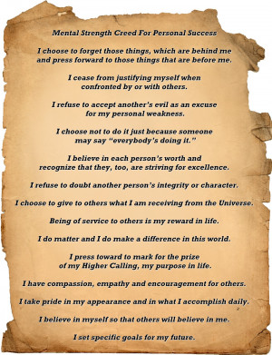 Mental Strength Creed For Personal Success