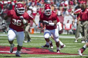 Fayetteville, AR, USA; Arkansas Razorback running back Dennis Johnson ...