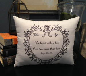Edgar Allan Poe Quote- Annabel Lee- 10X12 inch White Cotton Pillow