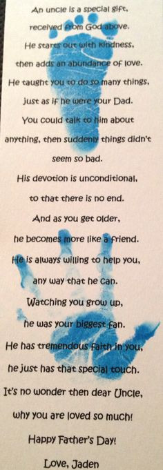 Fathers Day Uncle Poem for Jaden's Amazing uncles More