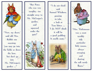 Printable Beatrix Potter Character Bookmarks with Quotes by joyart, $3 ...