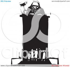 Judge Holding Gavel Podium