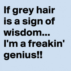 Grey Hair SignsIf Grey Hair is a sign of wisdom.. I'm a freakin ...