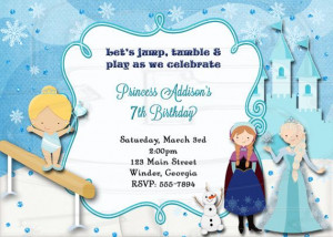 Ice Princess Frozen Gymnastics Birthday Invitation -Digital File on ...