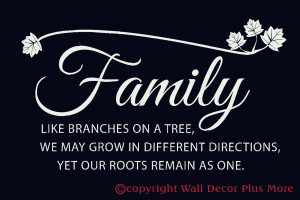 Family Branches with leaves Wall Quote Sticker 23x13