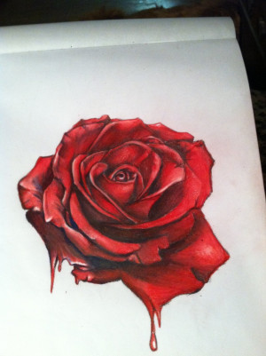 Bleeding White Rose Drawing Hyper surrealistic roseby