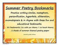 FREE set of 32 summer themed bookmarks to review some of the basics of ...