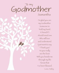 GODMOTHER Gift - Personalized Godmother Print - Gift for Godparents ...