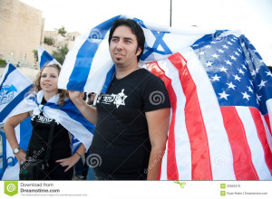 JERUSALEM - AUGUST 24: Zionists wave American and Israeli flags at a ...