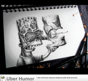 Insane Bart Simpson drawing