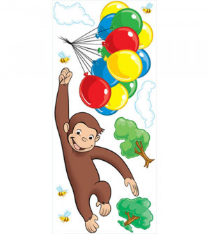 Curious George - 10 Large Wall Accent Murals and Wall Accent Stickers