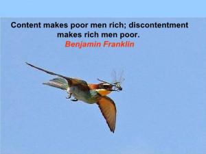 El pobre es rico cuando esta feliz con lo que tiene...