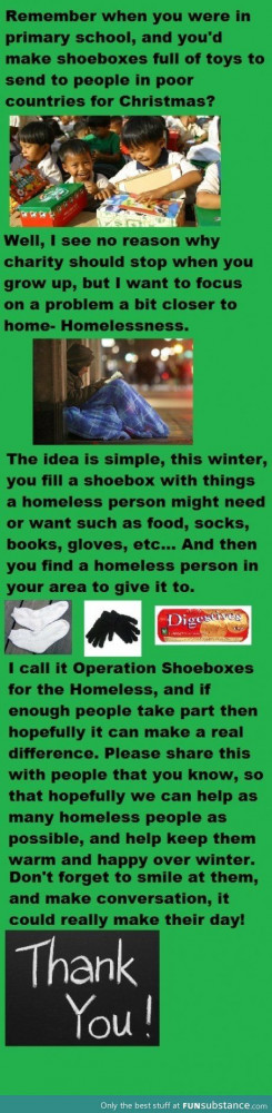 Operation shoebox, what an awesome idea to help the homeless in ...
