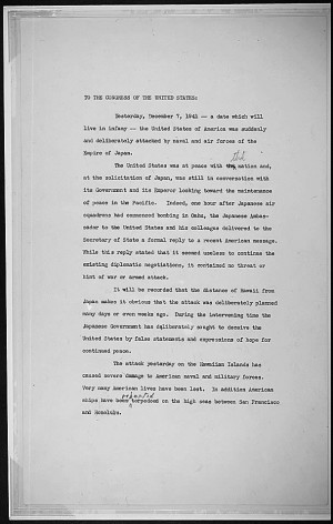 Reading copy (page 1) of FDR's