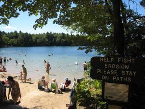 Walden Pond beach swimming