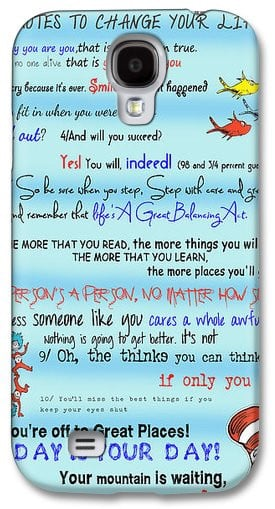 Dr Seuss - Quotes To Change Your Life Samsung Galaxy Case by Georgia ...