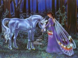 Unicorns Unicorn and Fairy Wallpaper