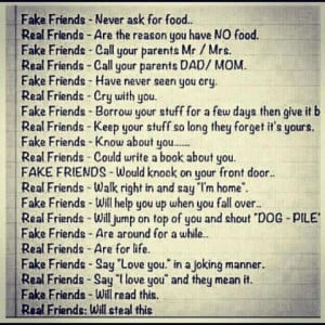 Fake friends vs real friends