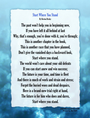 ... motivational poem - Start where you stand poem picture in big size